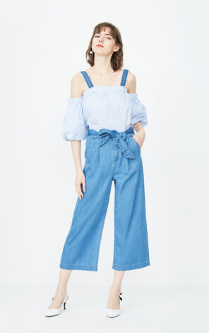ONLY2019 women's autumn new striped jeans suit | 118164501