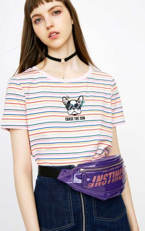 ONLY 2018 summer women's  new letter printing bright color PU waist bag | 118285509