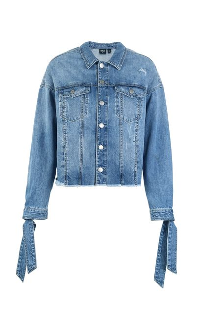 ONLY 2019 Women's Summer Raw-edge Lace-up Denim Jacket |118154514, Aqua, large