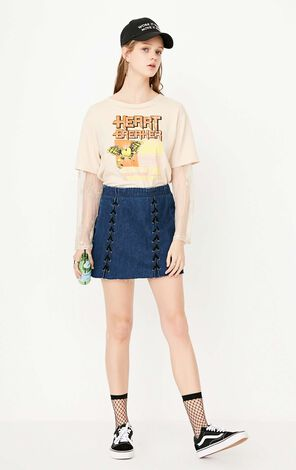 ONLY Women's Spring New Irregular High-rise Denim Skirt|117237526