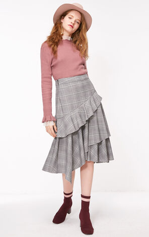 ONLY 2019 Ruffle Plaid Skirt  118316532