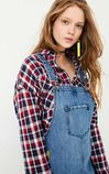 ONLY Spring 100% Cotton Letter Print Frayed Raw-edge Denim Overalls |117242505, Blue, large