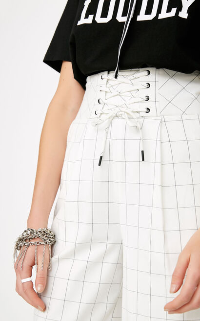 ONLY2019 women's summer new style strap high waist plaid cropped wide leg pants   11816J529, White, large