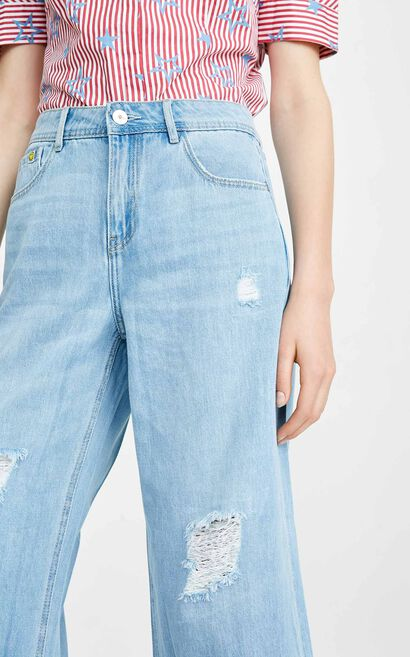 ONLY summer new curling low waist smiley wide leg jeans female | 11826I517, Blue, large