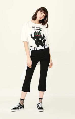 ONLY Summer New Women's Roll-up Slightly Flared Crop Pants|11726J501