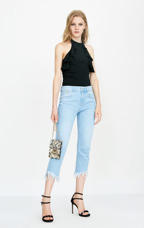 ONLY summer new smiley face cooperation seven-point straight jeans women 11826I516