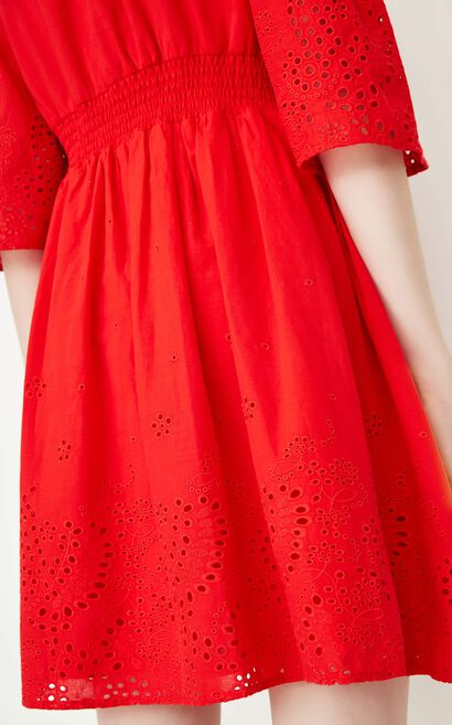 ONLY Summer Boat Neck See-through Cinched Waistline Dress |117307584, Red, large