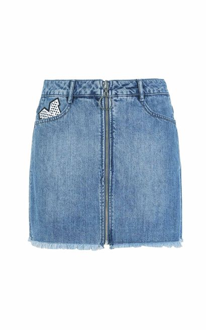 ONLY Summer Letter Patch Raw-edge Denim Skirt |117337520, Blue, large