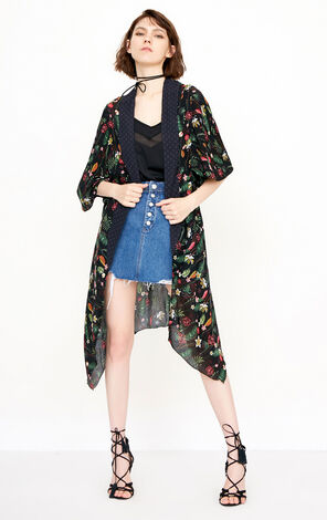 ONLY Women's 2019 Summer Loose Fit Floral Chiffon Cardigan |118205501