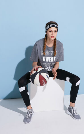 2019 ONLY women's PLAY letter print loose cotton breathable sporty T-shirt | 117101515