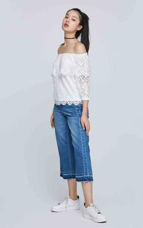 ONLY spring New Women's Laced Boat Neck Off-the-shoulder Elbow Sleeves Tops|117230509