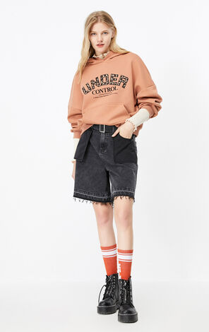 ONLY New Women's Loose Fit Letter Print Piled Hoodie