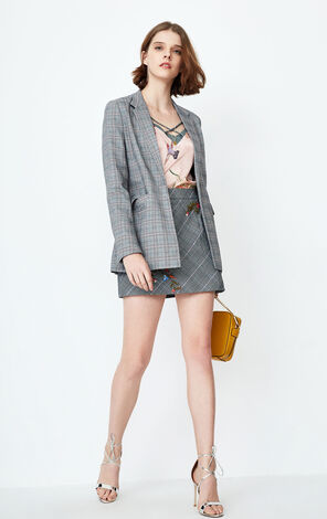 ONLY 2019 Women's Vintage Checked Embroidered Blazer |118108518