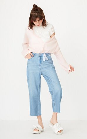 ONLY Spring New Women's Bowknot Raw-edge Wide-leg Jeans|117249544