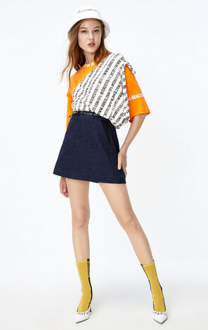ONLY 2019 AutumnHigh-rise A-lined Denim Skirt|119337517