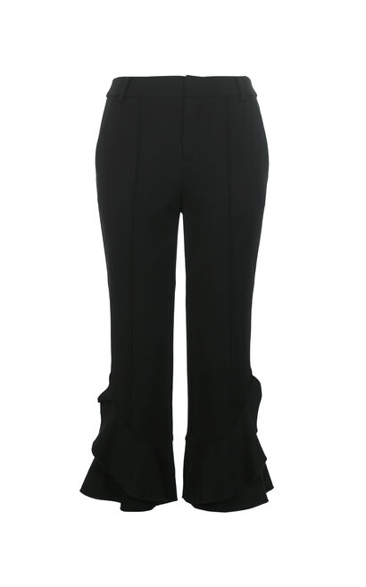 ONLY2019 women's summer new ruffled cropped flared casual pants   11816J525, Black, large