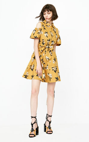 ONLY Summer 100% Cotton Off-shoulder Floral Lace-up Dress|118207524