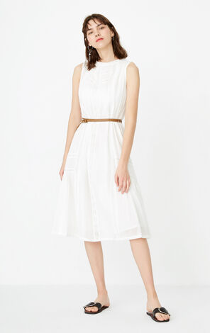 ONLY Spring 100% Cotton Lace Cut-outs Dress|117207512