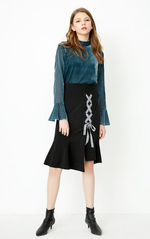ONLY Winter Lace-up Split Hip-wrap Fish Tail Skirt |118116513