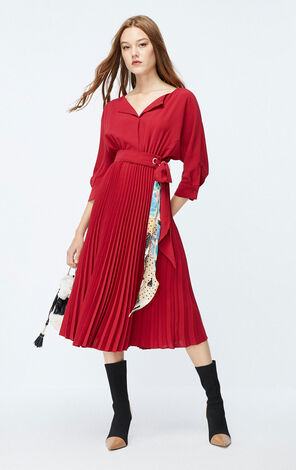 ONLY 2019 AutumnCinched Waist Pleated Chiffon Dress|119307551