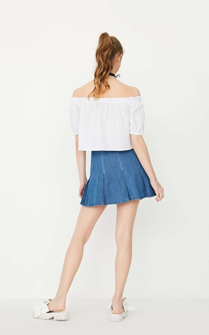 ONLY Women's Spring Spring Pleated Ruffled High-rise Denim Skirt|117237528, Blue, large