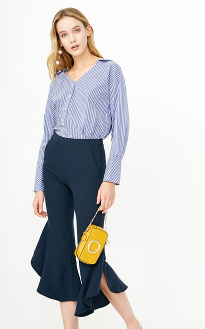 ONLY2019 women's summer new ruffled cropped loose casual pants | 11816J531, Blue, large