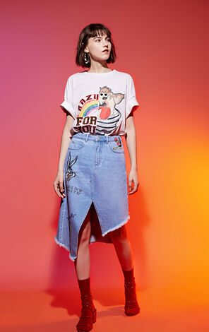 ONLY Spring Bugs Bunny Print Irregular Denim Skirt |118237510