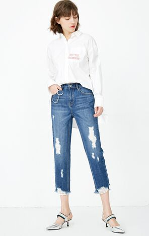 ONLY 2020 Women's Winter Raw-edge Rips Crop Jeans |118149568