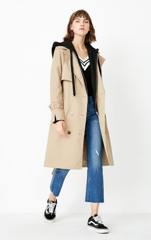 ONLY autumn new hooded fake two-piece mid-length coat women | 117336559