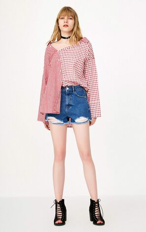 ONLY Women's Summer Checked Splice Split Loose Fit Shirt |118158516