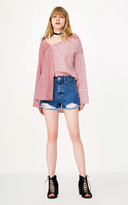 ONLY Women's Summer Checked Splice Split Loose Fit Shirt |118158516, Red, large