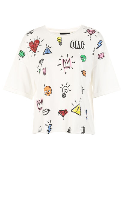 ONLY Women's Summer 100% Cotton Printed Round Neckline Loose Fit T-shirt |117301516, White, large