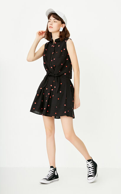ONLY Spring Single-breasted Lace-up Two-piece Dress |117207501, Black, large