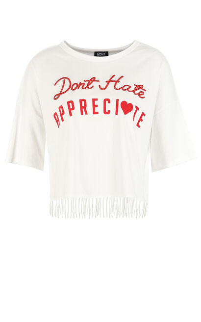 ONLY Women's Summer Loose Fit Letter Embroidery Fringed T-shirt |117301568, White, large