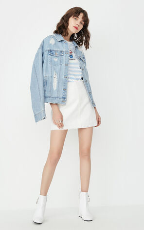 ONLY Summer Raw-edge A-line Denim Skirt |117316501