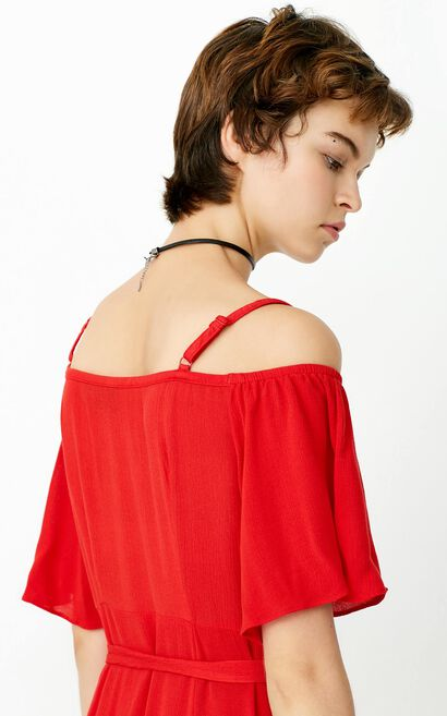 ONLY Summer Single-breasted Cinched Waist Slip Dress |117307594, Red, large