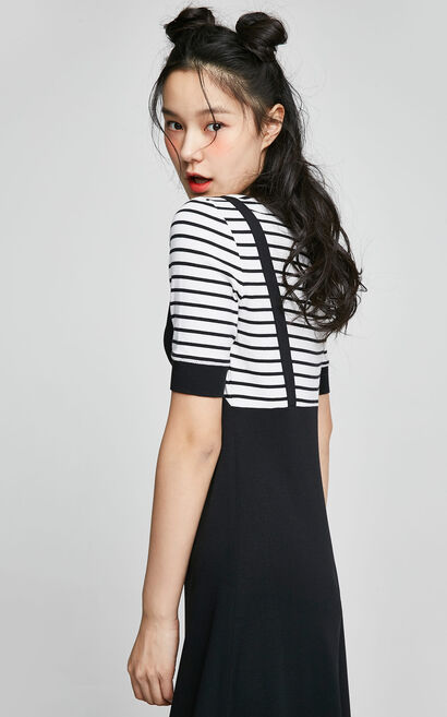 ONLY 2019 Spring Loose Fit Fake Two-piece Striped Dress |117261504, Black, large
