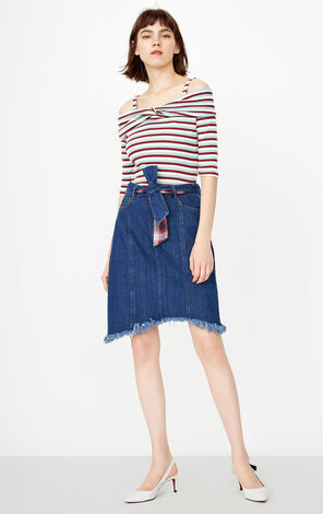 ONLY 2018 Winter Lace-up Denim Skirt |118337509