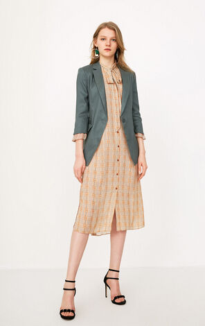 ONLY 2019 Women's Linen-blend 3/4 Sleeves One-button Blazer |118108511