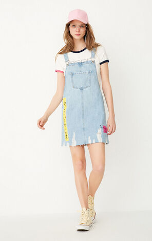 ONLY Spring 100% Cotton Letter Print Frayed Raw-edge Denim Overalls |117242505