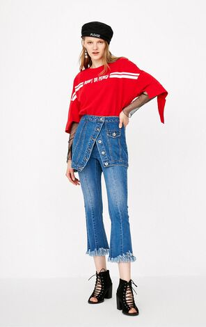 ONLY 2018 Women's 100% Cotton Letter Embroidery Loose Fit T-shirt  118130508