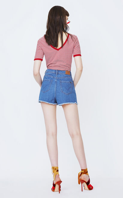 ONLY2019 women's summer new embroidered frayed edge denim short cullotes | 118143504, Blue, large