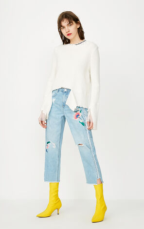 ONLY Women's Summer Split Ripped Embroidered Crop Jeans |118149615