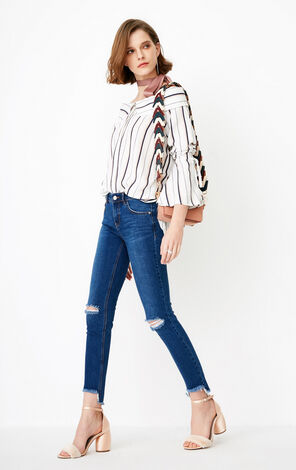Only Women's Slim Fit Distressing Crop Jeans |118149677
