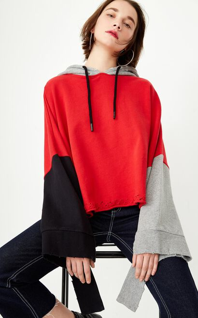 Only Women's Loose Fit Contrasting Pullover Hoodie |11819S519, Red, large