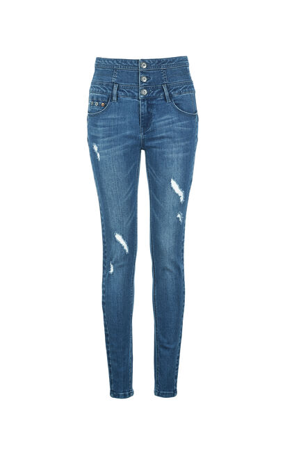 ONLY Women's Summer High-rise Ripped Skinny Jeans |117232502, Blue, large