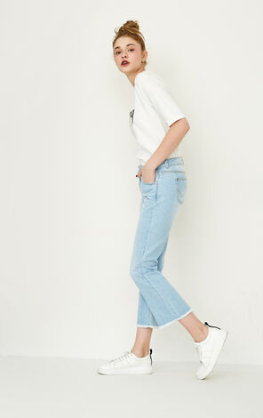 ONLY Spring New Women's Low-rise Raw-edge Slightly Flared Crop Jeans|117149568