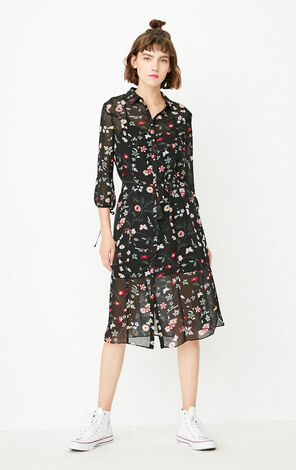 ONLY summer new style three-quarter sleeve two-piece floral dress female | 117331540