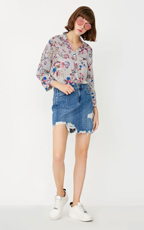 ONLY Summer New Women's Loose Fit V-neckline 3/4 Sleeves Floral Shirt|117331537