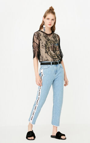 ONLY Women's Spring Letter Print BF Style Crop Jeans |117249556